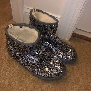Leopard print Sequin winter booties